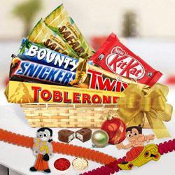 Yummy Assorted Chocolates with Twin Chota Bheem Rakhi