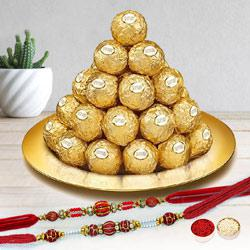 Ferrero Rocher on Gold Plated Pooja Thali N Twin Rakhi