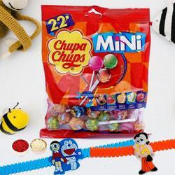 Yummy Chupa Chups Lollipops Packet with 2 Cartoon Rakhi for Kids