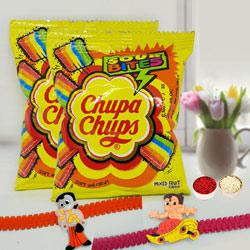Delicious Chupa Chups Sour Bites Chewy Toffee with 2 Kids Rakhi