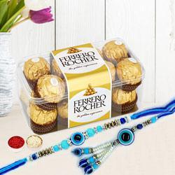 Wonderful Evils Eye Rakhi Bhaiya Bhabhi Set with Ferrero Rocher