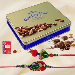Cadbury Rich Dry Fruits Tin with Bhaiya Bhabhi Rakhi