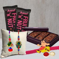 Family Rakhi with Brownies and Twin Amul Chocolate Bar