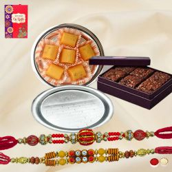 Twin Fancy Rakhis with Brownie, Pineapple Chocolate n Pooja Thali