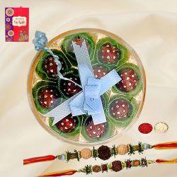 Twin Rudraksha Rakhi with Rum Ball Handmade Chocolates