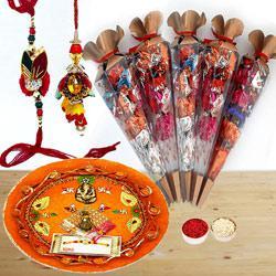 Bhaiya Bhabhi Rakhi Set with Pooja Thali n Hand Made Chocolates