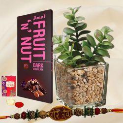 Jade Plant with Assorted Chocolate N Mere Bhaiya Rakhi
