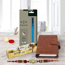 Combo of Pen with Planner Dairy, Chocolates N Rakhi
