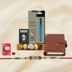 Rakhi with Parker Pen, Dairy, Card Holder n Ferrero Rocher
