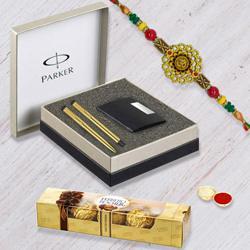 Parker Vector Gold Pen Set with Card Holder, Ferrero Rocher n Rakhi