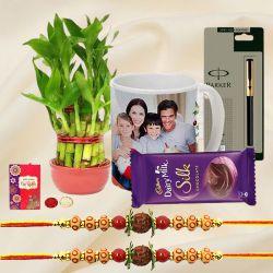 Good Luck Plant with Personalized Coffee Mug on Rakhi