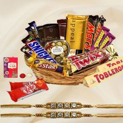Twin Stone Rakhi with Imported Chocolates for Brothers