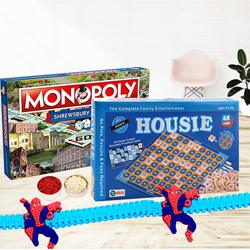 Two Indoor Board Games with Spiderman Rakhi
