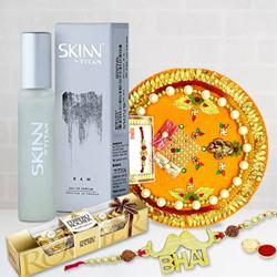 Titan Skinn Raw Perfume, Ferrero Rocher with Bhai Rakhi n Pooja Thali