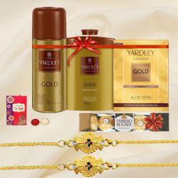Yardley Grooming Set for Men with Twin Bracelet Rakhi N Ferrero Rocher