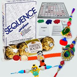 Sequence Board Game with Ferrero Rocher n Family Rakhi Set