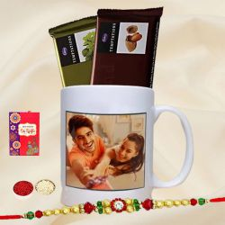 Personalized Photo Mug with Designer Rakhi N Two Cadbury Chocolates