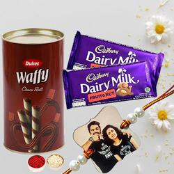 Personalized Rakhi with Rolled Wafers and Cadbury Chocolates