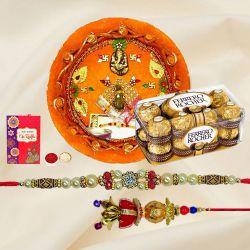 Ferrero Rocher with Pooja Thali n Bhaiya Bhabhi Rakhi
