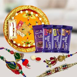 Twin Bhaiya Bhabhi Rakhi Set with Assorted Cadbury Chocolates n Pooja Thali