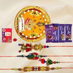 Twin Bhaiya Bhabhi Rakhi Set with Assorted Cadbury Chocolates n Pooja Thali