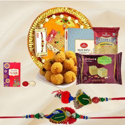 Haldriams Assortment with Bhaiya Bhabhi Rakhi, Cadbury Chocolate n Pooja Thali