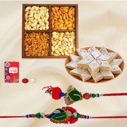 Bhaiya Bhabhi Rakhi with Kaju Katli n Dry Fruits