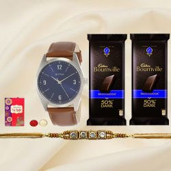 Stone Studded Rakhi with Fastrack Watch n 2 pcs Cadbury Bournville