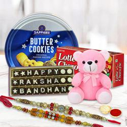 Marvellous Raksha Bandhan Hamper with Twin Fancy Rakhi
