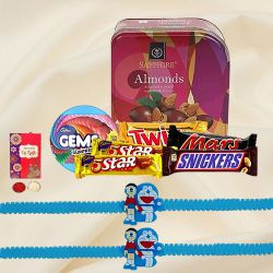 Delicious Chocolate Gifts with Doraemon Rakhi for Kids