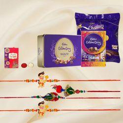 Delectable Cadbury Chocolate Trio with Family Rakhi Set