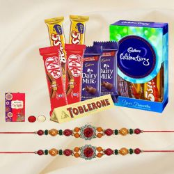 Marvellous Chocolates Gift Hamper with Dual Stone Rakhi