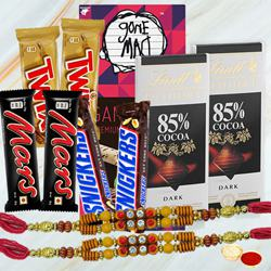 Imported Chocolates Basket with Twin Fancy Rakhi