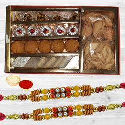 Assorted Sweets n Snacks Pack from Bhikaram Chandmal with 2 Rakhi