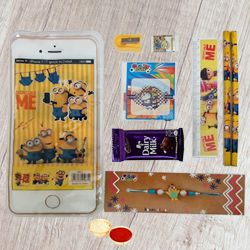 Minion Stationery Set with Minion Rakhi & Cadbury Chocolate