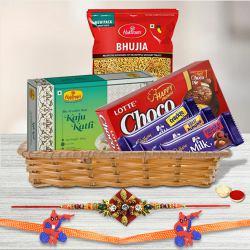 Suave Family Rakhi Set with Chocolates, Kaju Katli n Bhujiya