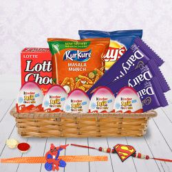 Fancy Kids Rakhi Pair with Assorted Chocolates, Chips n Kinder Joy