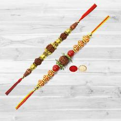 Beautiful Two Pieces of Rudraksha Rakhi with free Roli Tika and Chawal for your Loving Brother