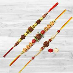 Designer Selection of Three Rudraksha Rakhi with free Roli Tika and Chawal for your Dear Brother