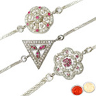 Outstanding Three Rhodium Plated Rakhis