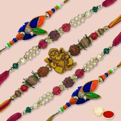 Stylish Arrangement of 5 Pieces Thread Rakhi Set with free Roli Tilak and Chawal for Rakhi Celebration