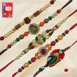 Trendsetting Collection of 5 Pieces Rakhi Set with Free Roli Tilak and Chawal on Raksha Bandhan