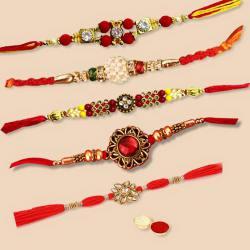 Charming Collection of Five Piece Rakhi Gift Set with Free Roli Tilak and Chawal on Raksha Bandhan