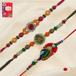 Gorgeous Arrangement of 4 Pieces Rakhi Set with Free Roli Tilak and Chawal for Rakhi Celebration