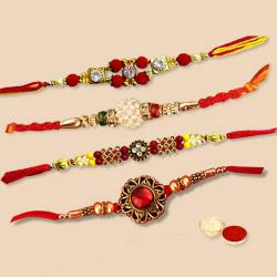 Fashionable Arrangement of 4 pc. Decorative Rakhi Set with free Roli Tilak, and Chawal for Rakhi Celebration