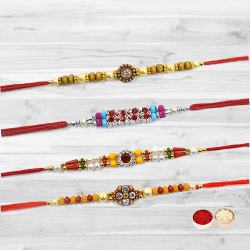 Exquisite Stone Studded Rakhi Set