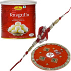 Attractive Single Rakhi with Puja Thali N 1 Kg. Tin Rasgulla from Haldiram