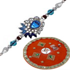 Exclusive Combo of Rakhi Thali N Designer Rakhi Thread