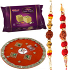 Stunning Hamper of 2 Fancy Rakhi with Thali N Soan Papdi from Haldiram