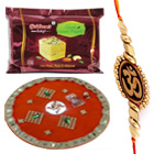 Impressive Gift of Traditional Thali with Haldirams Soan Papdi N One Fancy Rakhi
